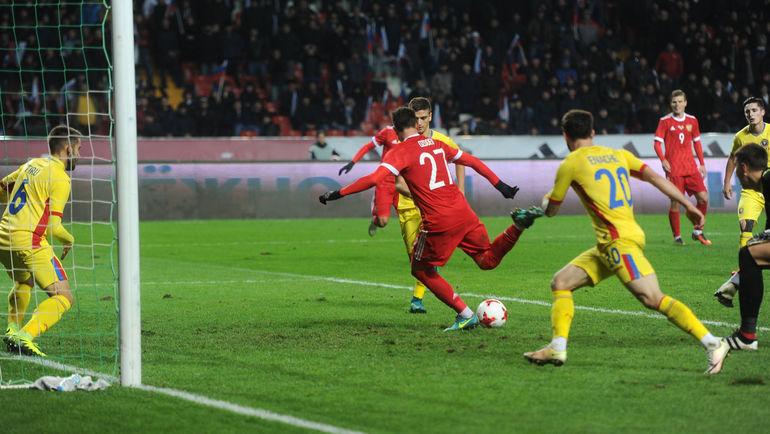 Сегодня. Грозный. Россия - Румыния - 1:0. 90+3-я минута. Гол Магомеда ОЗДОЕВА. Фото Александр ФЕДОРОВ, «СЭ»