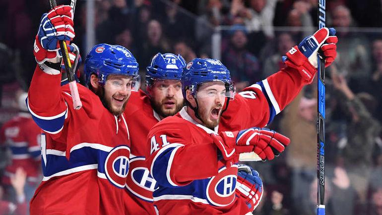 """Вторник. Монреаль. """"Монреаль"""" - """"Флорида"""" - 3:4 ОТ. Андрей МАРКОВ (№79) празднует с партнерами забитый гол. Фото NHL.com"""