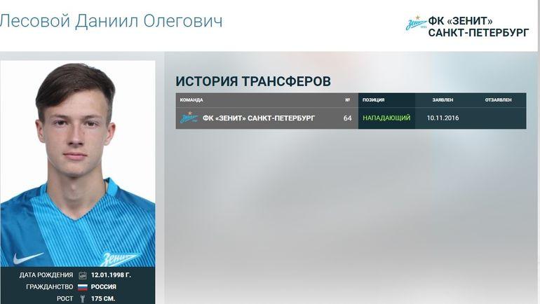 Даниил Лесовой. Фото - официальный сайт РФПЛ.