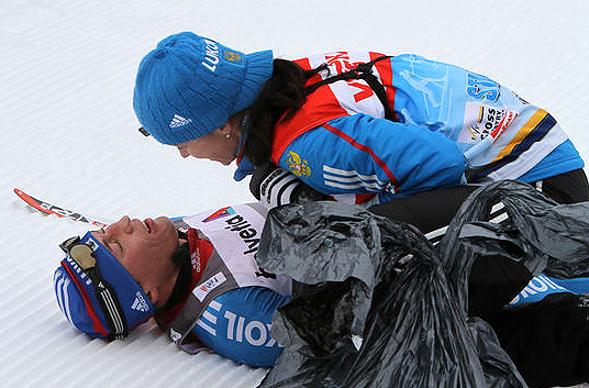 Александр ЛЕГКОВ и Изабель КНАУТЕ. Фото fasterskier.com