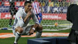 """Суббота. Мадрид. """"Атлетико"""" - """"Реал"""" - 0:3. КРИШТИАНУ РОНАЛДУ празднует второй гол в ворота хозяев."""