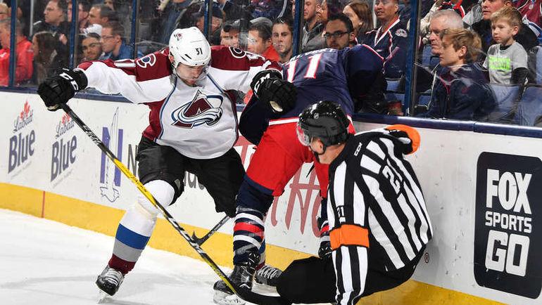 """Понедельник. Коламбус. """"Коламбус"""" - """"Колорадо"""" - 2:3 ОТ. Федор ТЮТИН (слева) сыграл против бывшей команды. Фото NHL.com"""