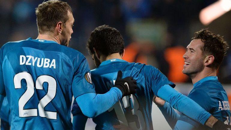 """Футболисты """"Зенита"""" празднуют второй гол. Фото AFP"""