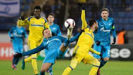 """Вчера. Санкт-Петербург. """"Зенит"""" - """"Маккаби"""" Т-А - 2:0. Сине-бело-голубые выиграли пятый подряд матч в группе."""