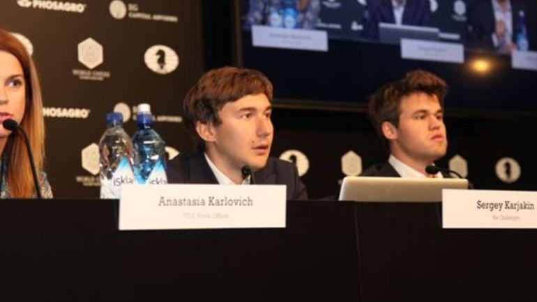 Сергей КАРЯКИН (слева) и Магнус КАРЛСЕН. Фото ruchess.ru