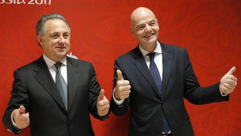 Вице-премьер РФ и президент РФС Виталий МУТКО с главой ФИФА Джанни ИНФАНТИНО (справа). Фото Reuters
