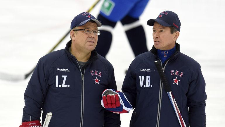 Игорь ЗАХАРКИН (слева) и Вячеслав БЫКОВ. Фото Владимир БЕЗЗУБОВ, photo.khl.ru