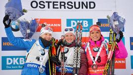 Кайса МЯКЯРЯЙНЕН, Мари ДОРЕН-АБЕР и Габриэла КОУКАЛОВА - тройка призеров в женском спринте.