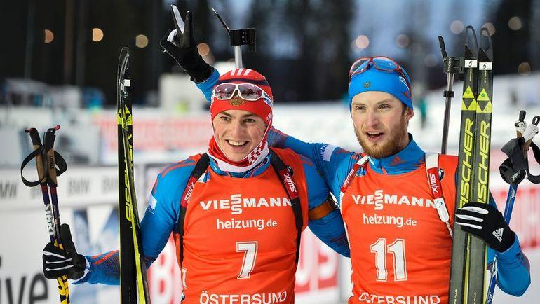 Сегодня. Эстерсунд. Радость Антона БАБИКОВА (слева) и Максима ЦВЕТКОВА. Фото AFP