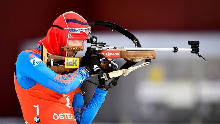 Сегодня. Эстерсунд. Антон БАБИКОВ на стрельбище. Фото AFP