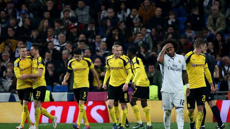 """Среда. Мадрид. """"Реал"""" – """"Боруссия"""" Д – 2:2. Гости праздную выход в плей-офф с первого места в группе. Фото REUTERS"""