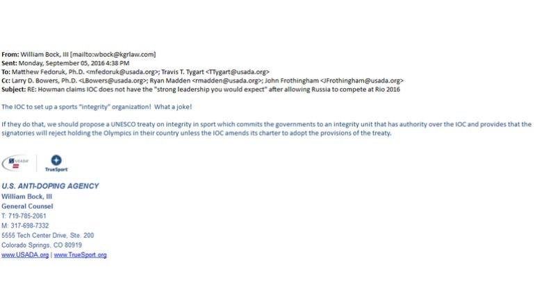 Письмо генерального консультанта USADA сотрудникам организации. Фото fancybears.net