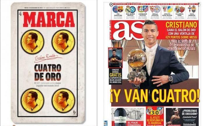 Первые полосы Marca (слева) и AS.