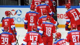 Вчера. Москва. Швеция – Россия – 3:1. Российские хоккеисты покидают лед после поражения.