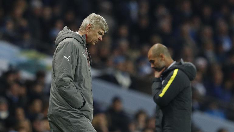 """Сегодня. Манчестер. """"Манчестер Сити"""" - """"Арсенал"""" - 2:1. Арсен ВЕНГЕР (слева) и Хосеп ГВАРДЬОЛА. Фото REUTERS"""
