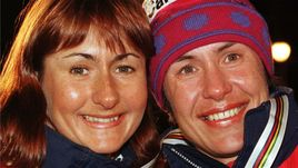 Февраль 1997 года. Тронхейм. Елене ВЯЛЬБЕ (слева) и Любовь ЕГОРОВА.