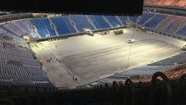 """23 декабря. Санкт-Петербург. Вид на поле """"Крестовского"""" с верхних рядов."""