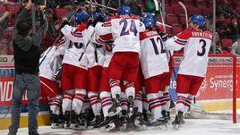 Понедельник. Монреаль. Чехия - Финляндия - 2:1. Игроки сборной Чехии празднуют победу.