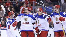 Сегодня. Торонто. Канада - Россия - 5:3. Россияне празднуют гол.