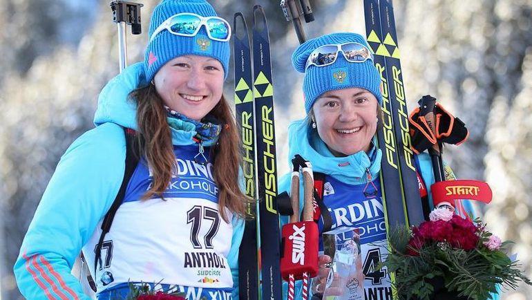 Ольга ПОДЧУФАРОВА (слева) и Екатерина ЮРЛОВА - победитель и бронзовый призер спринта в Антхольце. Фото Союз биатлонистов России