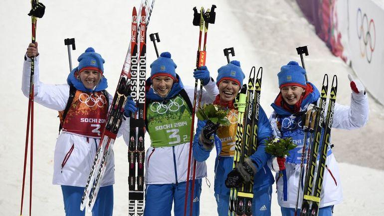 Слева направо: Яна РОМАНОВА, Ольга ЗАЙЦЕВА, Екатерина ШУМИЛОВА и Ольга ВИЛУХИНА. Фото AFP