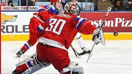 Сегодня. Торонто. Россия - Словакия - 2:0. Голкипер россиян Илья САМСОНОВ.