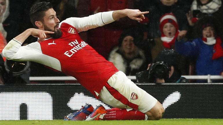 """Сегодня. Лондон. """"Арсенал"""" - """"Кристал Пэлас"""" - 2:0. 17-я минута. Оливье ЖИРУ празднует свой гол. Фото Reuters"""