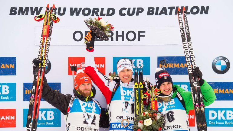 Михал ШЛЕЗИНГЕР, Юлиан ЭБЕРХАРД и Доминик ВИНДИШ. Фото AFP