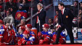 Сегодня. Монреаль. Швеция - Россия - 1:2 ОТ. Скамейка российской команды. Валерий БРАГИН - справа.