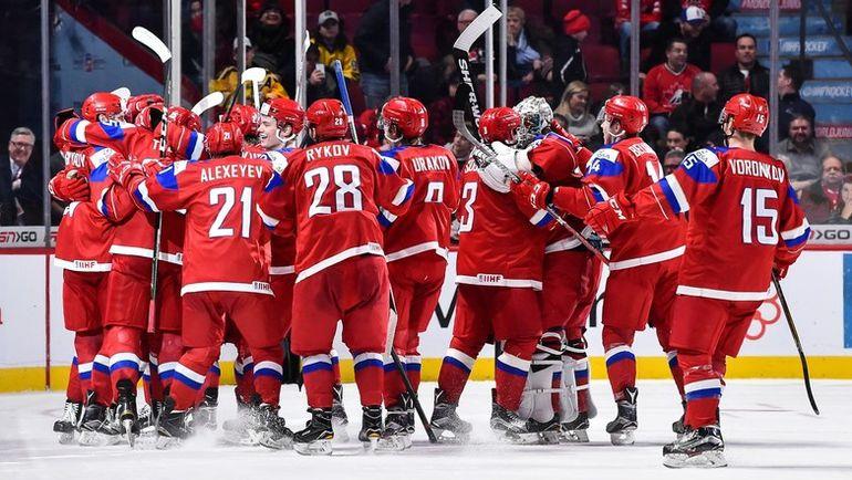 Сегодня. Монреаль. Швеция - Россия - 1:2 ОТ. Россияне празднуют победу. Фото AFP