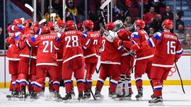 Сегодня. Монреаль. Швеция - Россия - 1:2 ОТ. Россияне празднуют победу.