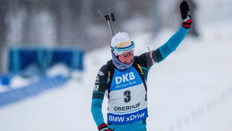 Сегодня. Оберхоф. Француженка Мари ДОРЕН-АБЕР выиграла гонку преследования. Фото AFP