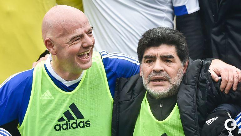 Сегодня. Цюрих. Товарищеский матч звезд мирового футбола. Диего МАРАДОНА и Джанни ИНФАНТИНО.