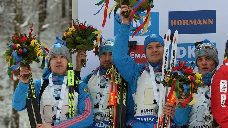 Алексей ВОЛКОВ, Антон ШИПУЛИН, Матвей ЕЛИСЕЕВ и Антон БАБИКОВ на пьедестале. Фото AFP