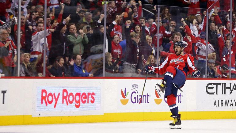 """Среда. Вашингтон. """"Вашингтон"""" – """"Питтсбург"""" – 5:2. Александр ОВЕЧКИН празднует 1000-е очко в НХЛ. Фото REUTERS"""