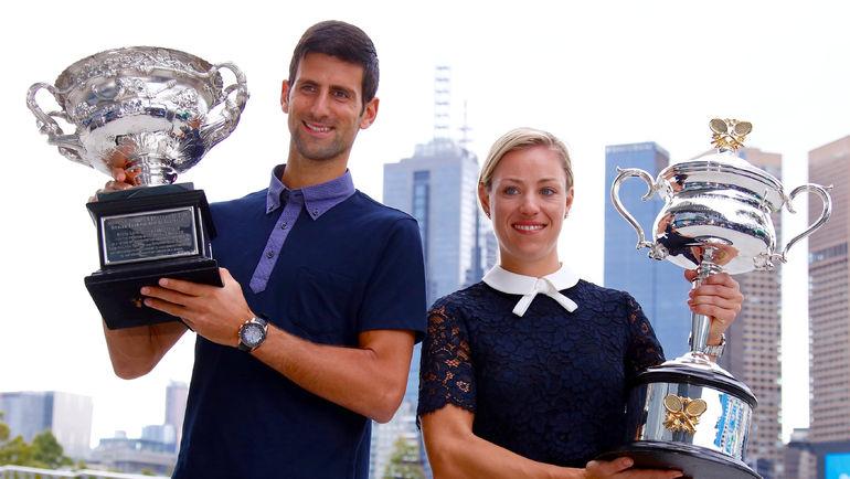 Действующие чемпионы Australian Open Новак ДЖОКОВИЧ и Ангелик КЕРБЕР. Фото REUTERS