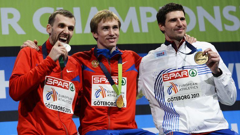 Алексей ДМИТРИК (слева) с серебром чемпионата Европы в закрытых помещениях в 2013 году. Фото AFP