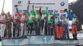 Сегодня. Антерсельва. Германия выиграла мужскую эстафету. Норвегия - вторая, Россия стала третьей.