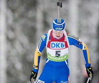 Победительница гонки преследования Хелена ЭКХОЛЬМ из Швеции. Фото AFP Фото AFP