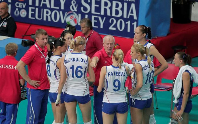 Сегодня. Италия. Россия - Голландия - 3:1. Тайм-аут российской команды. Фото Reuters