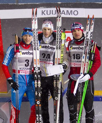 Сегодня. Куусамо. Никита КРЮКОВ (слева), Теодор ПЕТТЕРСОН (в центре) и Ойстен ПЕТЕРСЕН. Фото AFP Фото «СЭ»