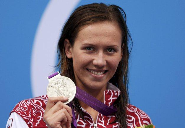 """Сегодня. Лондон. Анастасия ЗУЕВА с серебряной олимпийской медалью. Фото AFP Фото """"СЭ"""""""