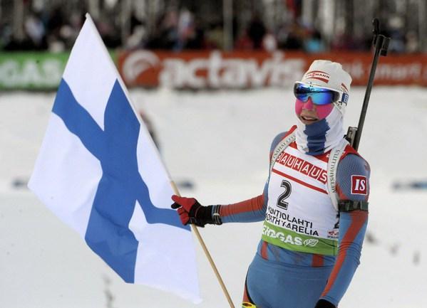 Чемпионка Финляндии по лыжам в гонке на 10 километров свободным стилем - биатлонистка Кайса МЯКЯРЯЙНЕН. Фото REUTERS Фото Reuters