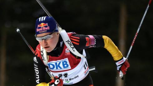 Мириам ГЕССНЕР и ее партнерши по сборной Германии выиграли эстафету в Сочи. Фото AFP Фото AFP
