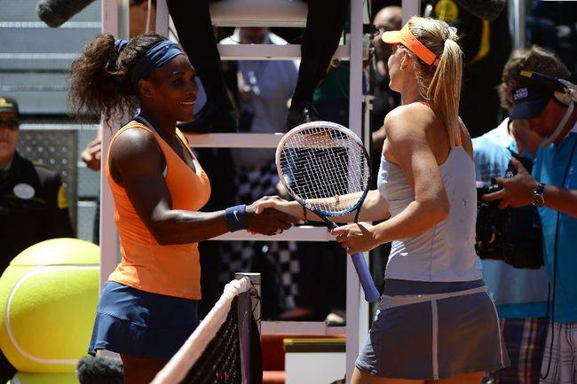 Звезды мирового тенниса Серена УИЛЬЯМС (слева) и Мария ШАРАПОВА. Фото AFP Фото AFP