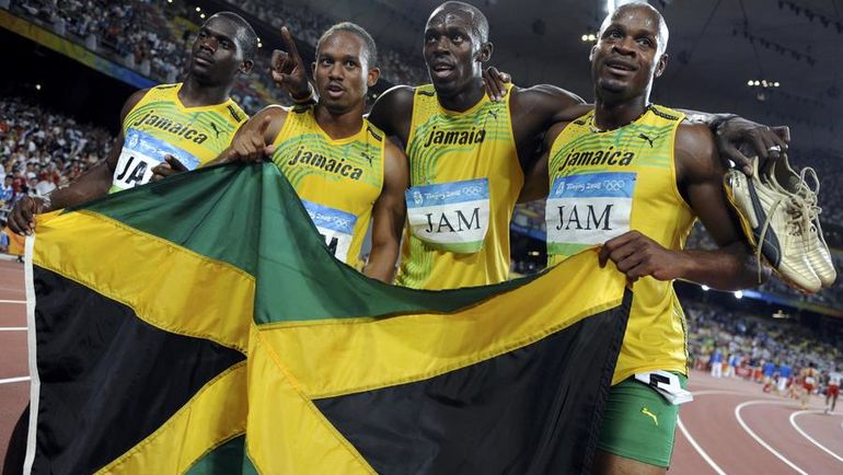 Эстафетная команда Ямайки в Пекине. Фото REUTERS