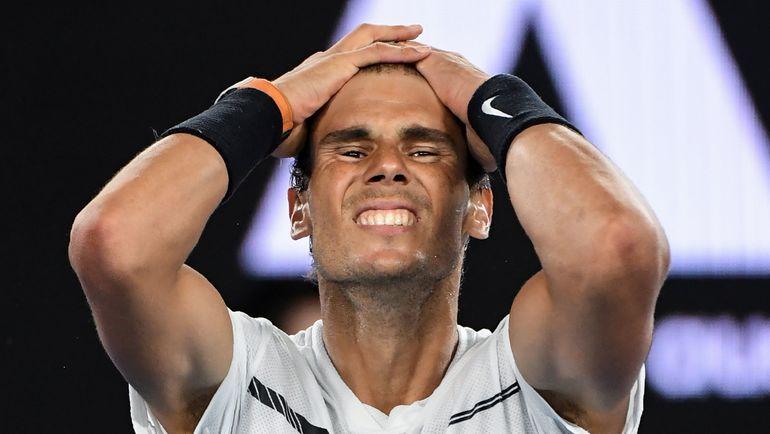 Сегодня. Мельбурн. Рафаэль НАДАЛЬ празднует выход в финал. Фото AFP