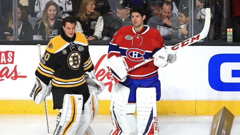 """Вратарь """"Бостона"""" Туука РАСК (справа) и вратарь """"Монреаля"""" Кэри ПРАЙС. Фото AFP"""