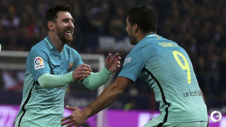 """Среда. Мадрид. """"Атлетико"""" – """"Барселона"""" – 1:2. Авторы голов Лионель МЕССИ и Луис СУАРЕС."""