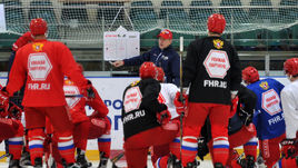 На тренировке олимпийской сборной России по хоккею